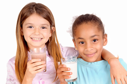 girls drinking milk