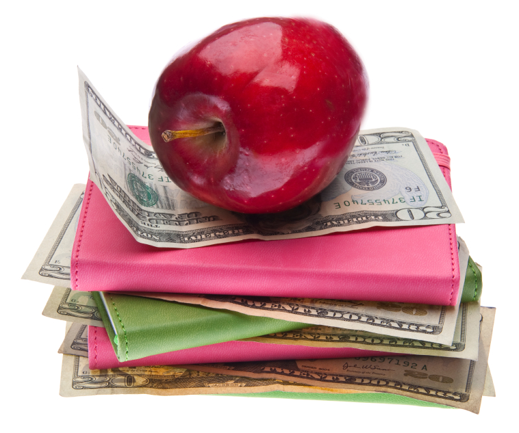 apple, book, money